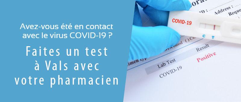 Dépistage COVID 19 - Grande Pharmacie de Vals - Vals-les-Bains - 07600